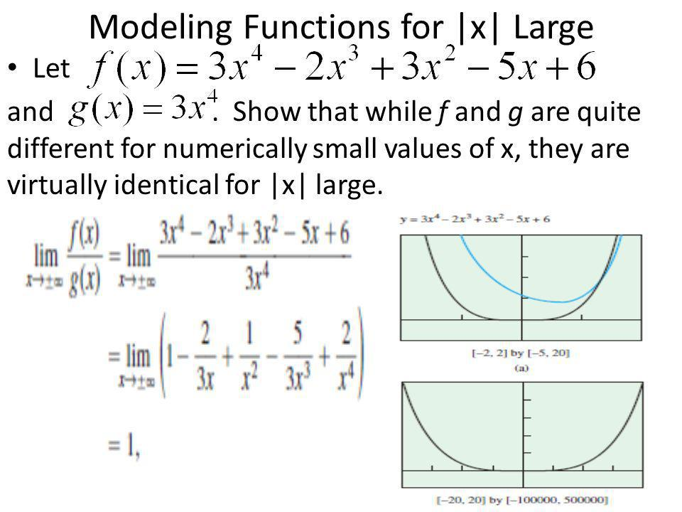 Modeling Functions for |x| Large