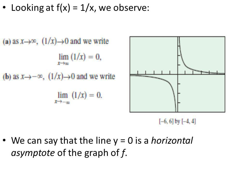 Looking at f(x) = 1/x, we observe: