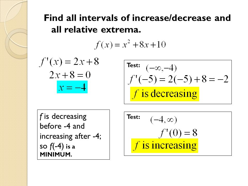 Find all intervals of increase/decrease and all relative extrema.
