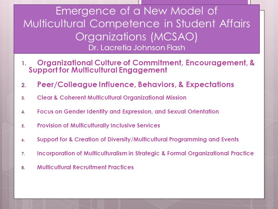 Emergence of a New Model of Multicultural Competence in Student Affairs Organizations (MCSAO) Dr. Lacretia Johnson Flash