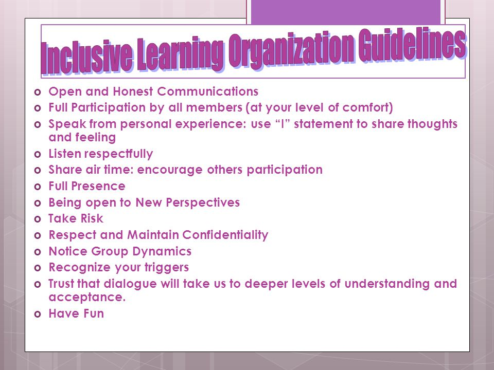 Inclusive Learning Organization Guidelines