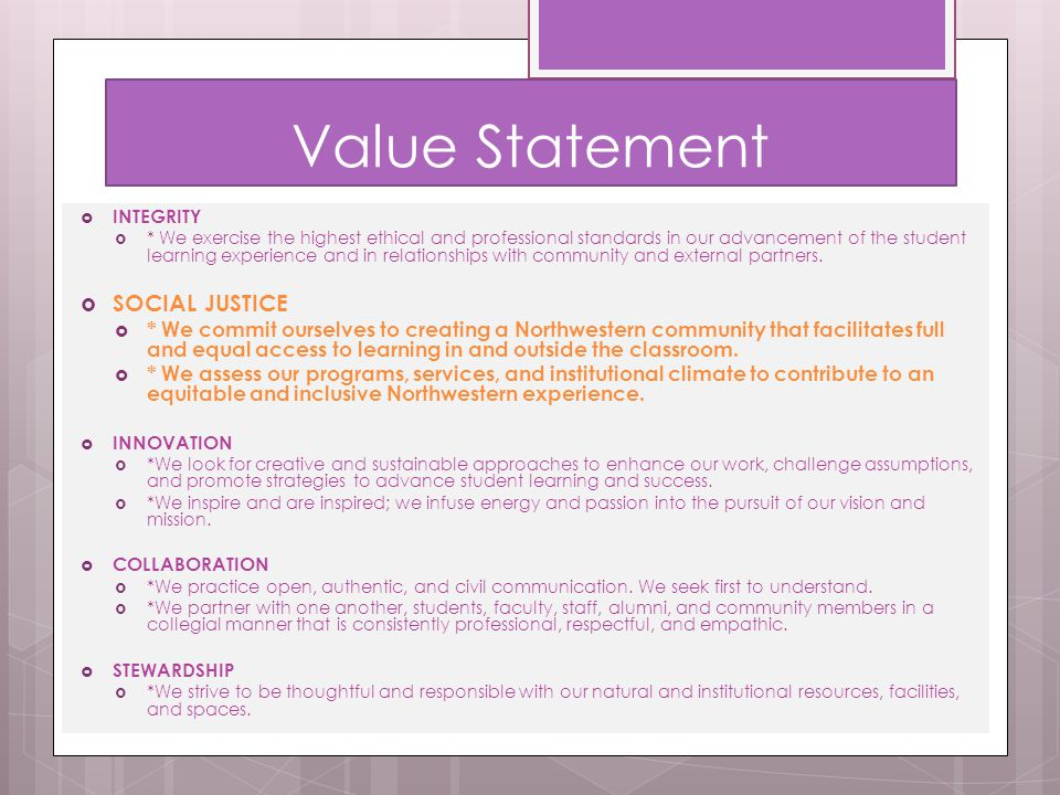 Value Statement SOCIAL JUSTICE