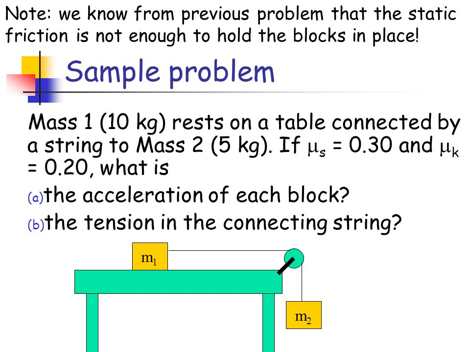 Note: we know from previous problem that the static friction is not enough to hold the blocks in place!