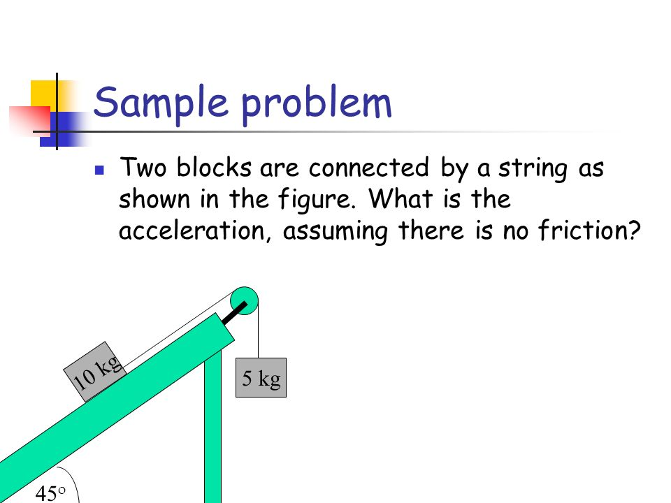 Sample problem Two blocks are connected by a string as shown in the figure. What is the acceleration, assuming there is no friction