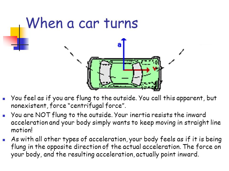 When a car turns You feel as if you are flung to the outside. You call this apparent, but nonexistent, force centrifugal force .