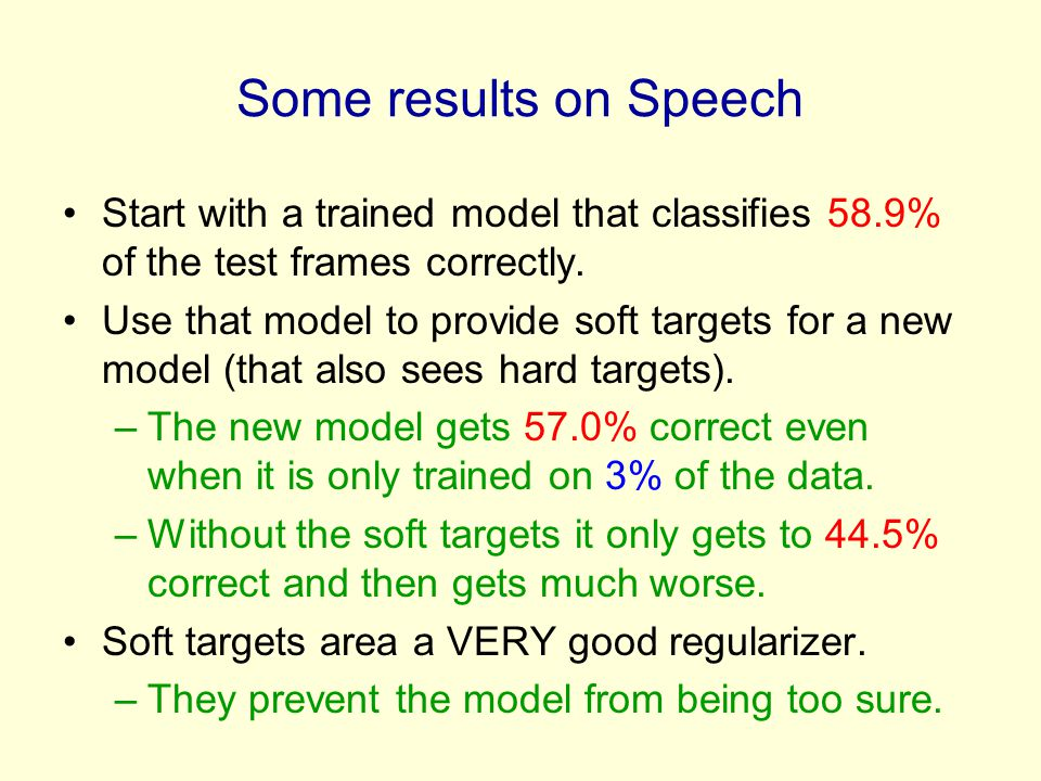 Some results on Speech Start with a trained model that classifies 58.9% of the test frames correctly.