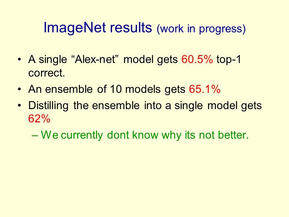 ImageNet results (work in progress)