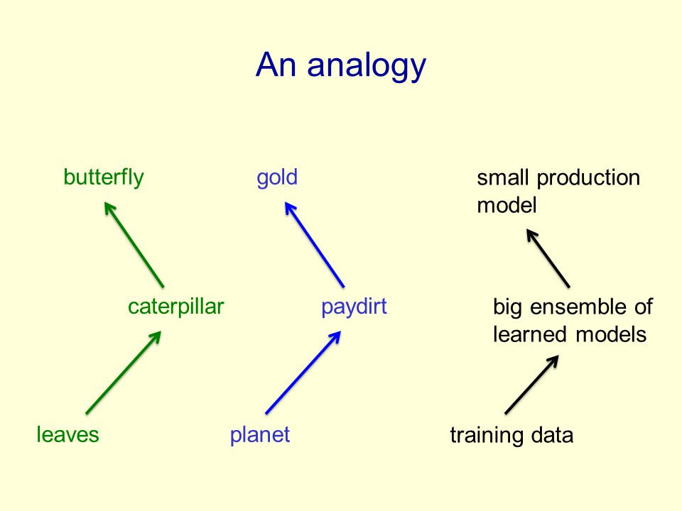 An analogy butterfly gold small production model caterpillar paydirt