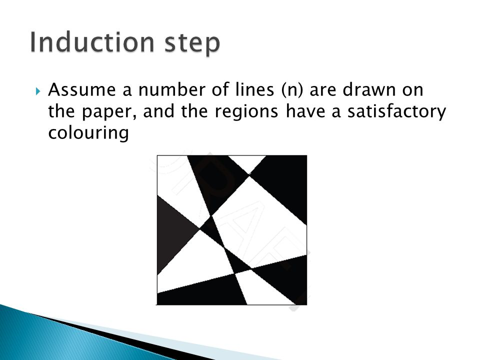 Induction step Assume a number of lines (n) are drawn on the paper, and the regions have a satisfactory colouring.