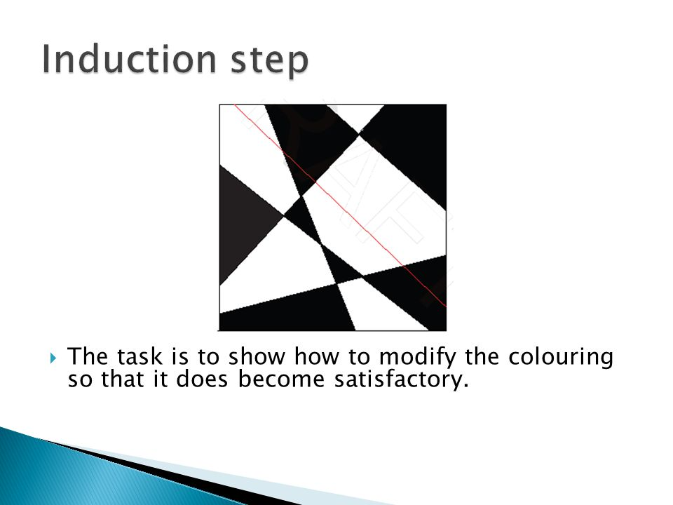 Induction step The task is to show how to modify the colouring so that it does become satisfactory.