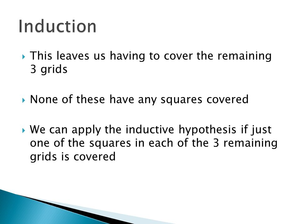 Induction This leaves us having to cover the remaining 3 grids