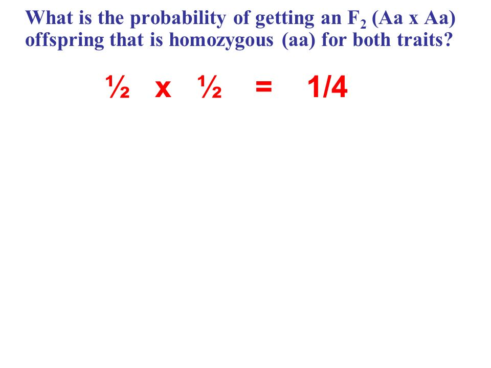What is the probability of getting an F2 (Aa x Aa) offspring that is homozygous (aa) for both traits