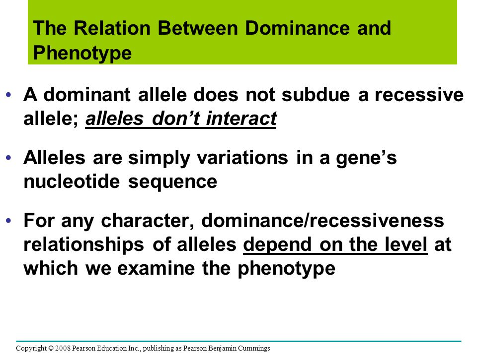 The Relation Between Dominance and Phenotype