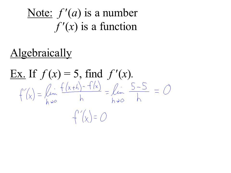 Note: f (a) is a number f (x) is a function Algebraically Ex. If f (x) = 5, find f (x).