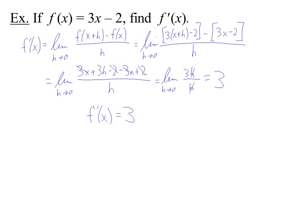 Ex. If f (x) = 3x – 2, find f (x).