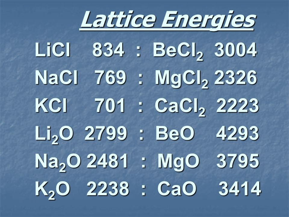Lattice Energies LiCl 834 : BeCl2 3004 NaCl 769 : MgCl2 2326