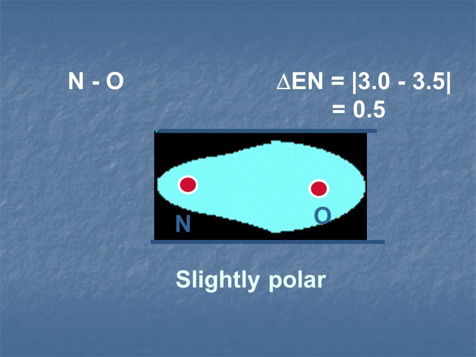 N - O EN = |3.0 - 3.5| = 0.5 O.