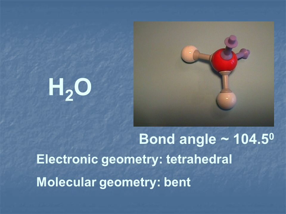 H2O Bond angle ~ 104.50 Electronic geometry: tetrahedral