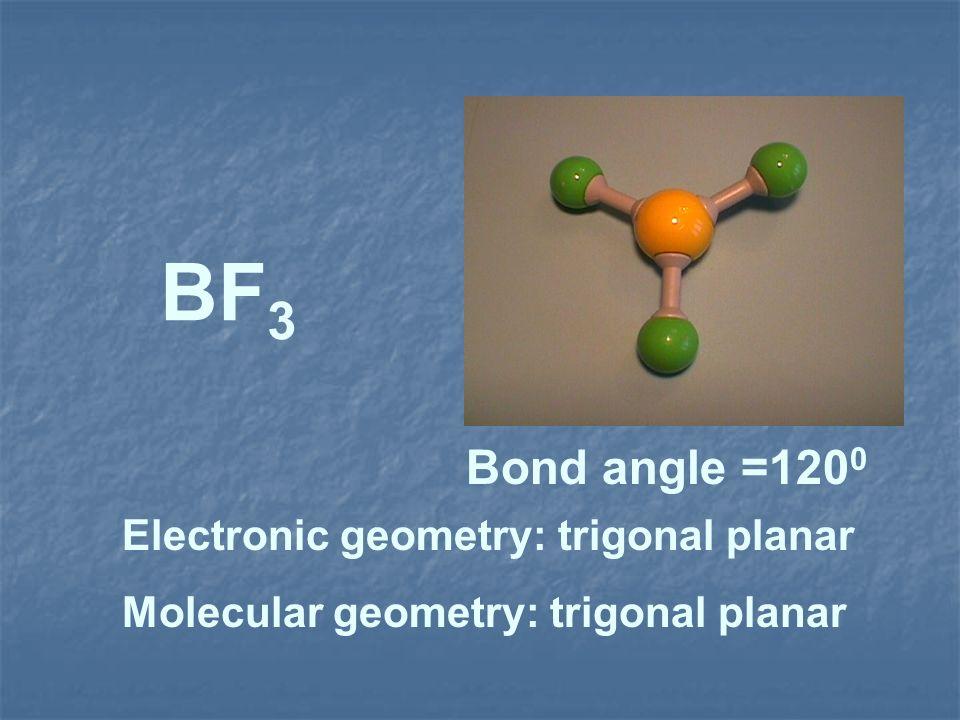 BF3 Bond angle =1200 Electronic geometry: trigonal planar
