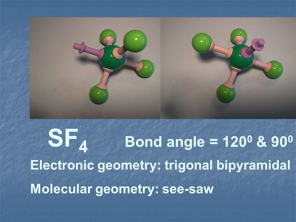SF4 Bond angle = 1200 & 900 Electronic geometry: trigonal bipyramidal