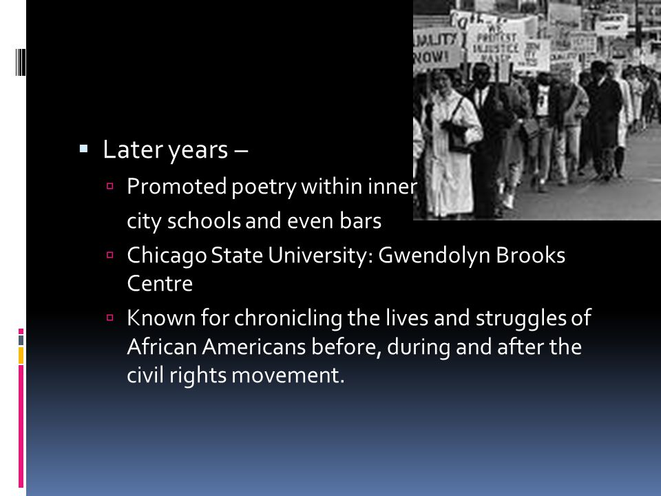 Later years – Promoted poetry within inner city schools and even bars