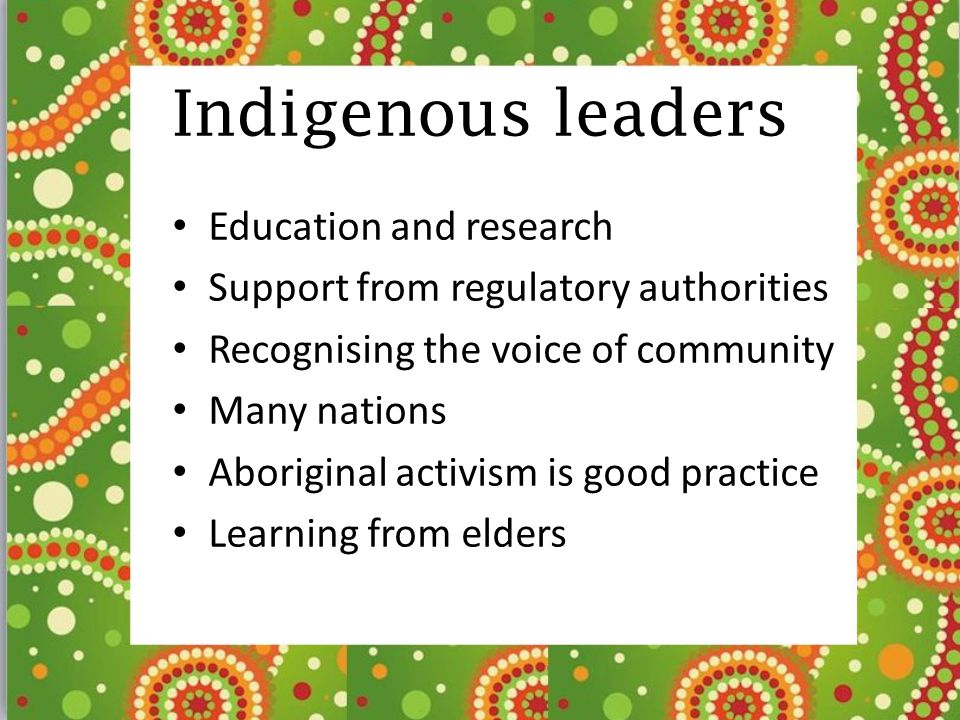 Indigenous leaders Education and research