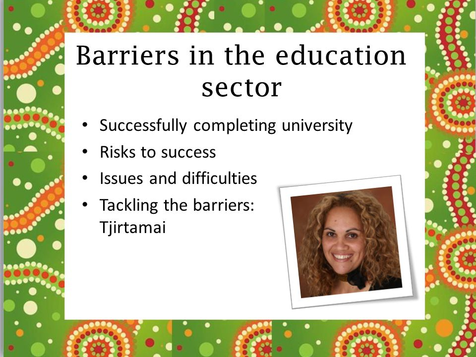 Barriers in the education sector