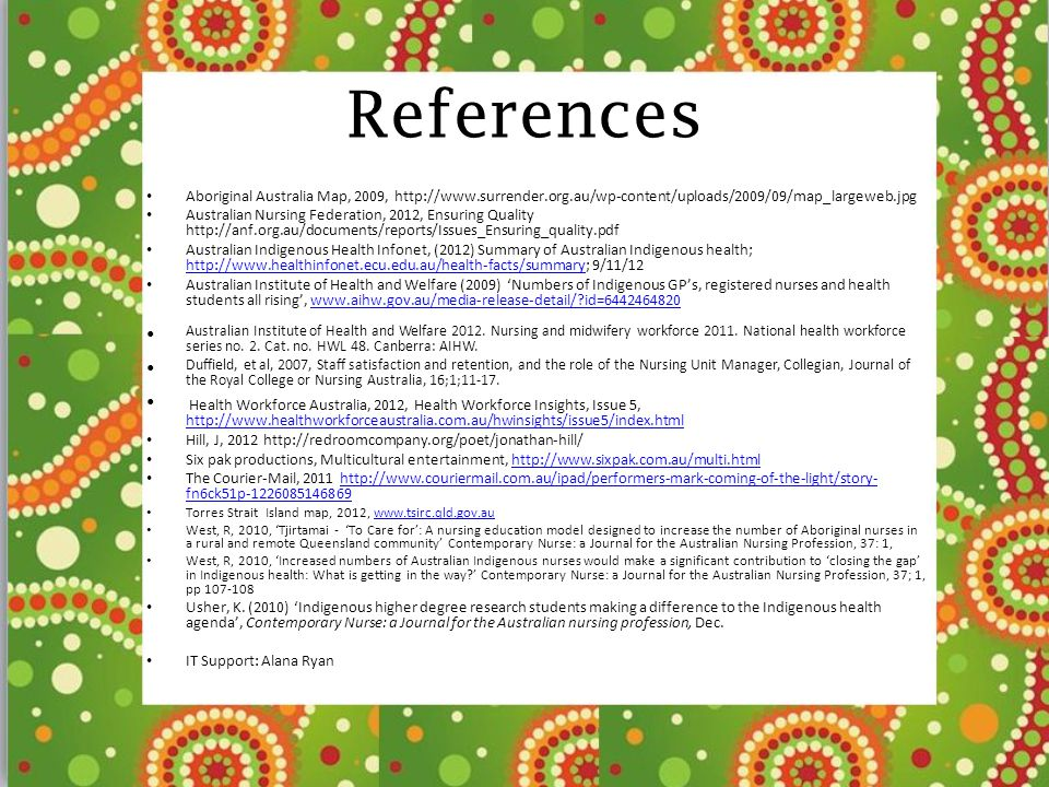 References Aboriginal Australia Map, 2009, http://www.surrender.org.au/wp-content/uploads/2009/09/map_largeweb.jpg.