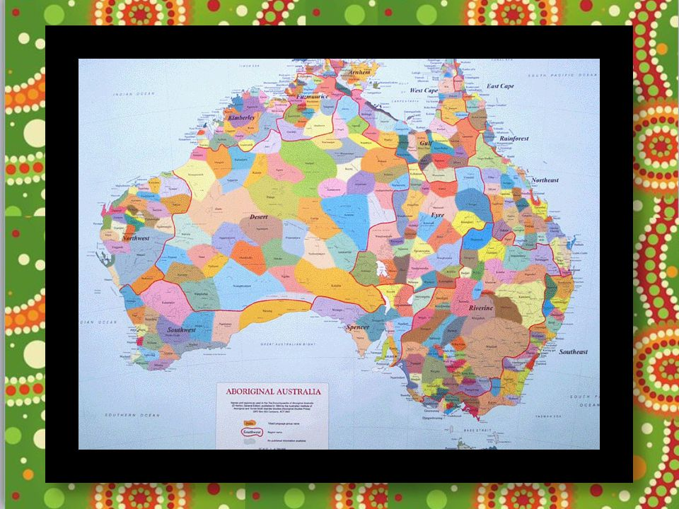This map is to give you an idea of how many different Aboriginal groups there are across Australia. Prior to colonisation it is thought that there were up to 700 different language groups. Currently about 145 languages are still in use