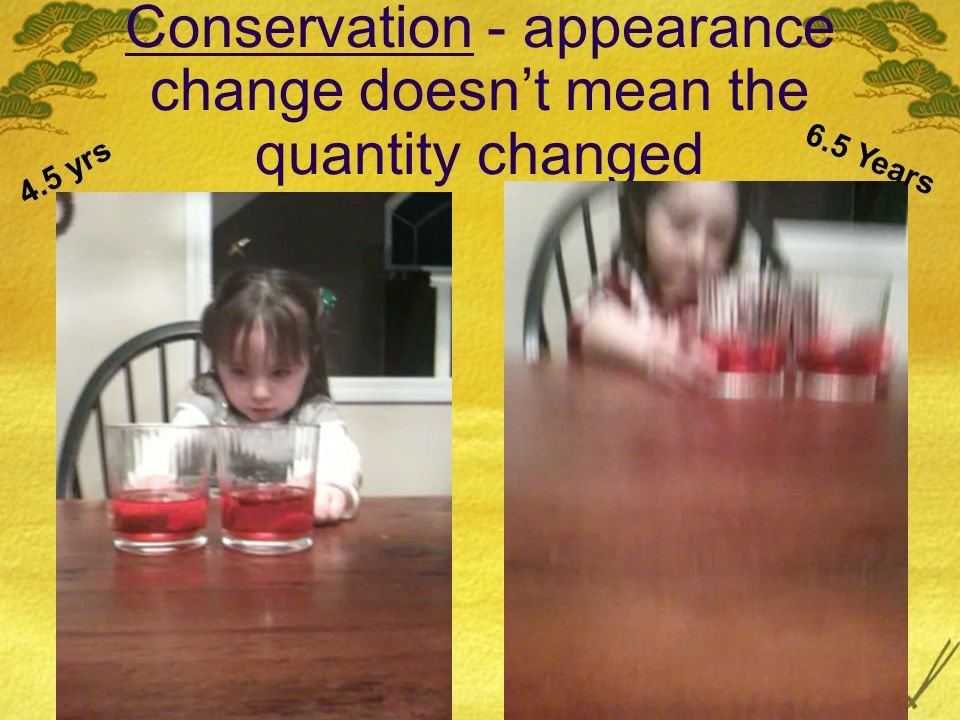 Conservation - appearance change doesn't mean the quantity changed