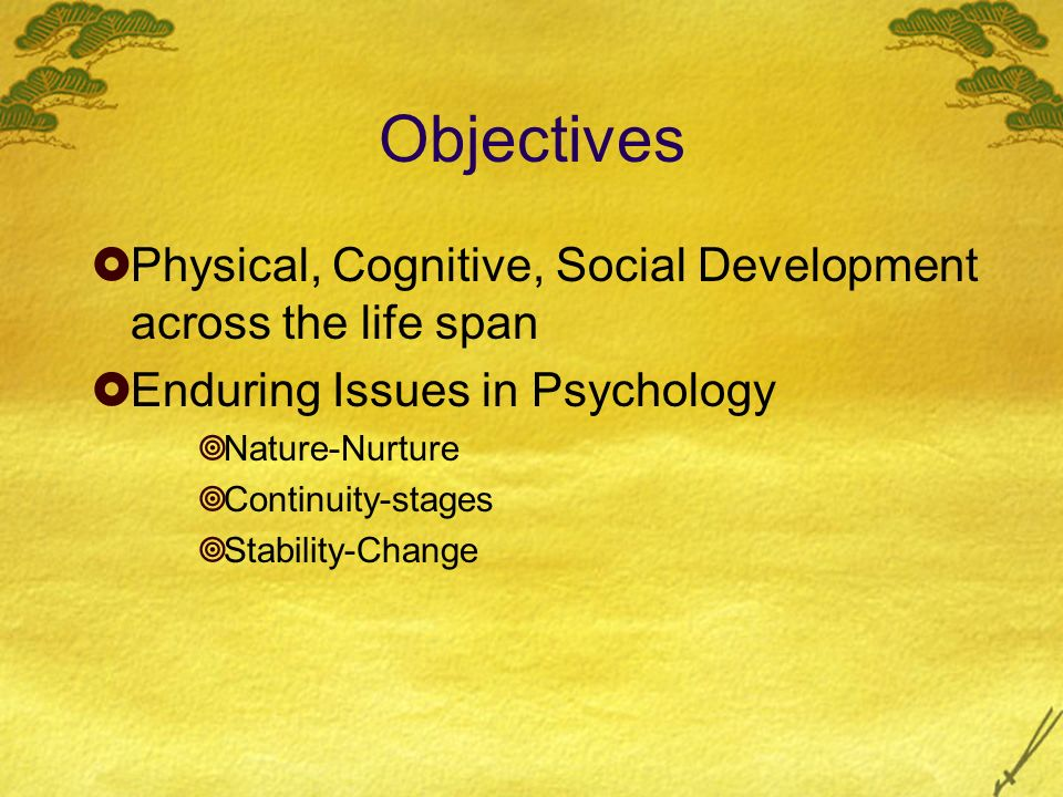 Objectives Physical, Cognitive, Social Development across the life span. Enduring Issues in Psychology.