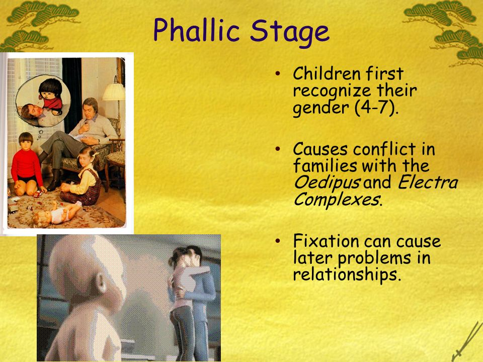 Phallic Stage Children first recognize their gender (4-7).