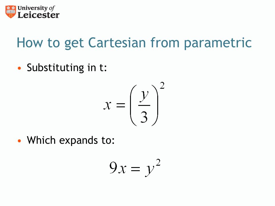 How to get Cartesian from parametric
