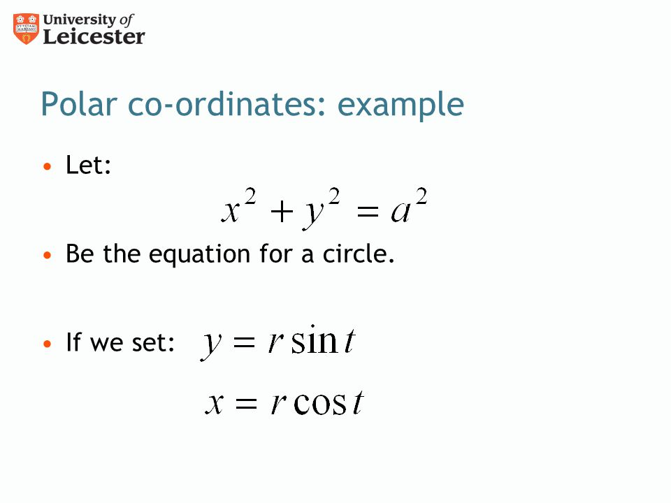 Polar co-ordinates: example
