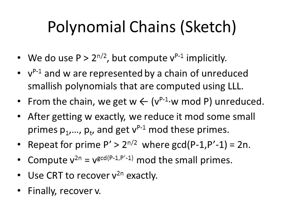 Polynomial Chains (Sketch)