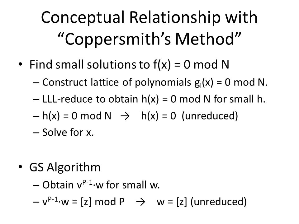 Conceptual Relationship with Coppersmith's Method