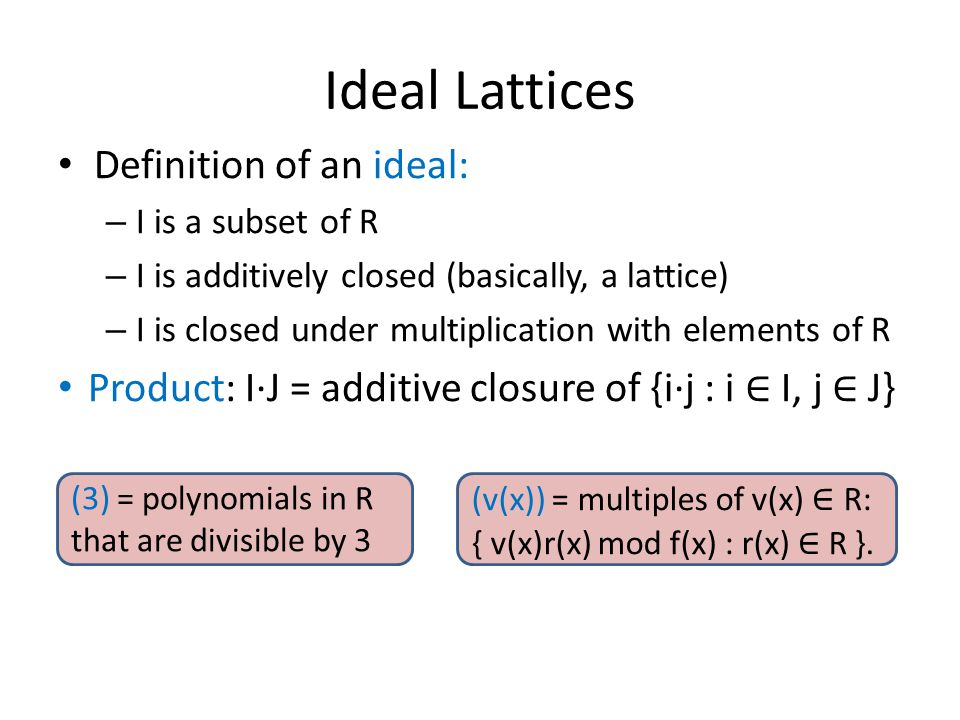 Ideal Lattices Definition of an ideal: