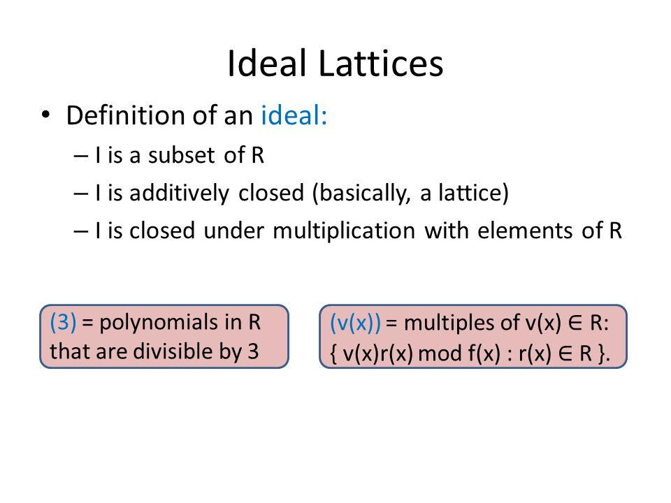 Ideal Lattices Definition of an ideal: I is a subset of R