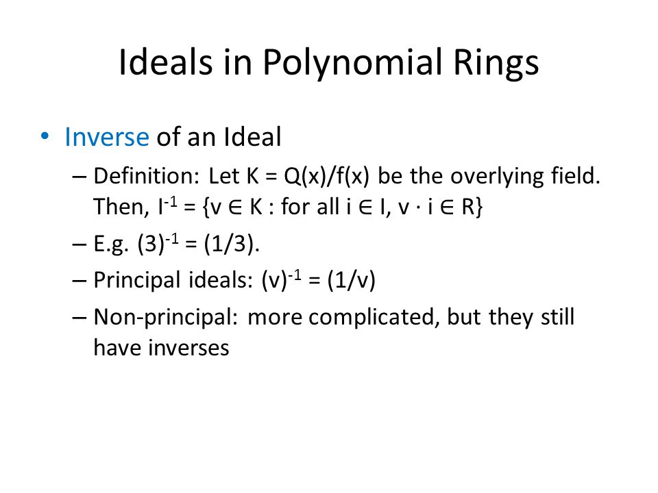 Ideals in Polynomial Rings