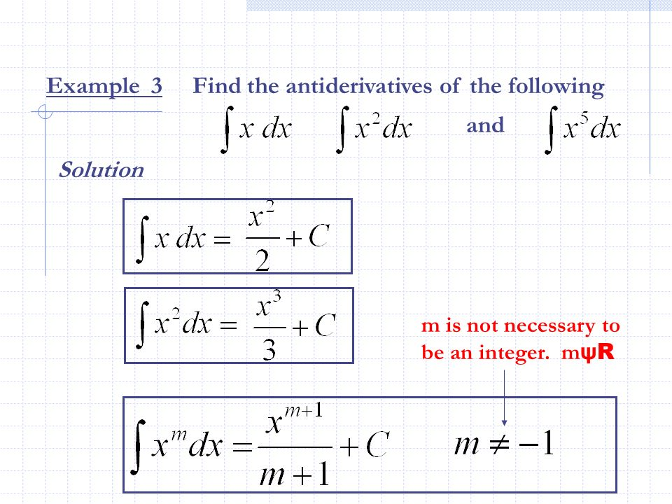 Example 3 Find the antiderivatives of the following