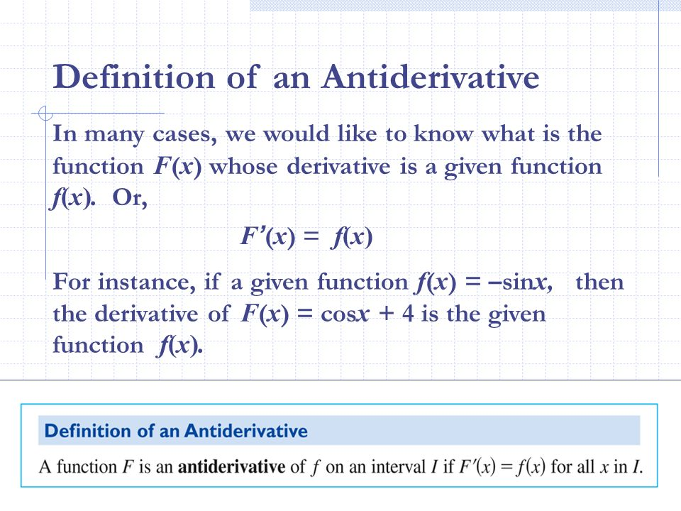 Definition of an Antiderivative
