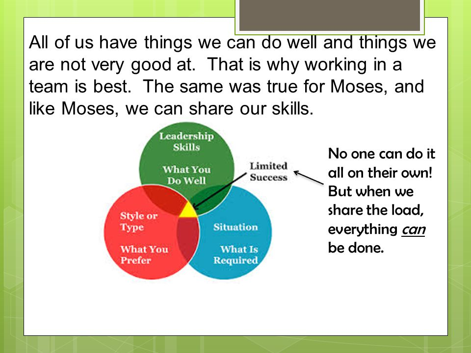 All of us have things we can do well and things we are not very good at. That is why working in a team is best. The same was true for Moses, and like Moses, we can share our skills.