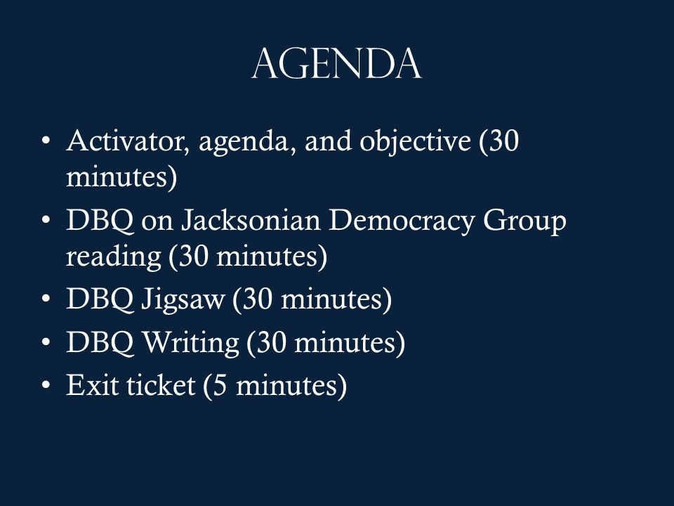Agenda Activator, agenda, and objective (30 minutes)