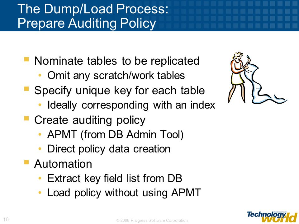 The Dump/Load Process: Prepare Auditing Policy