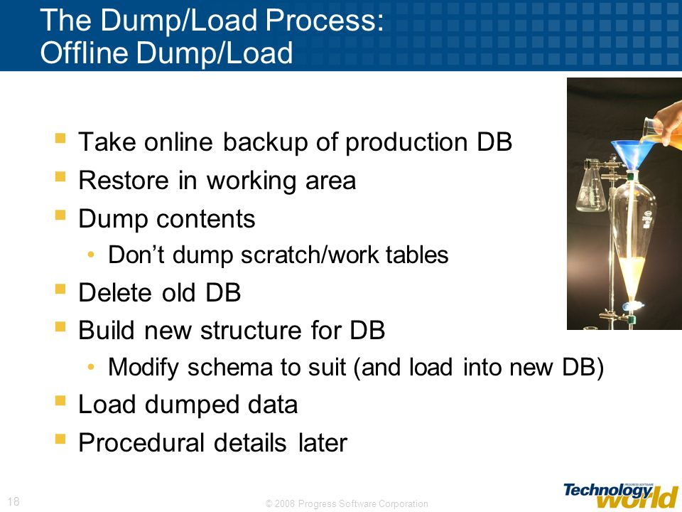 The Dump/Load Process: Offline Dump/Load