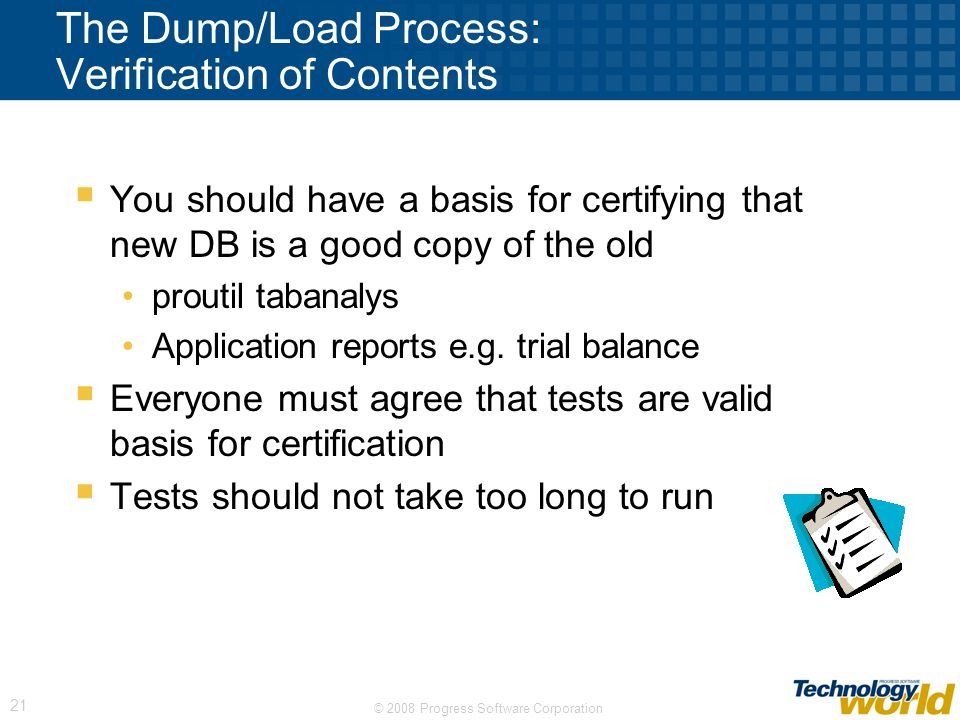 The Dump/Load Process: Verification of Contents