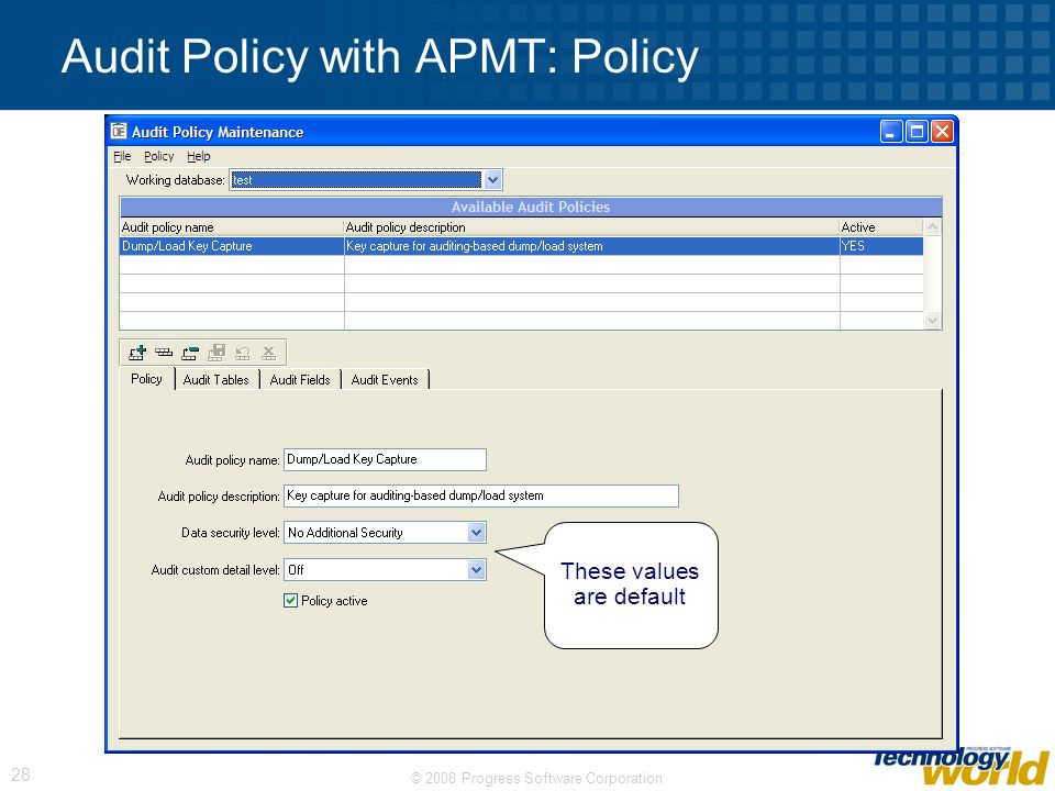 Audit Policy with APMT: Policy