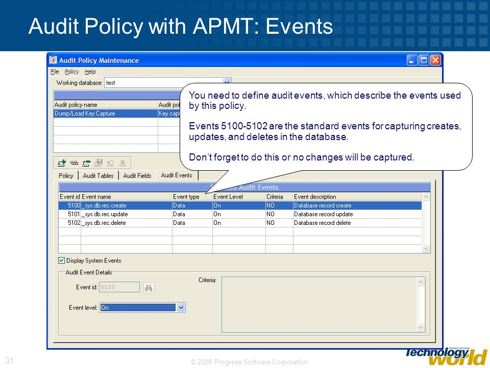 Audit Policy with APMT: Events