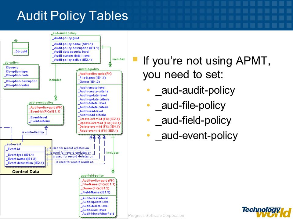 Audit Policy Tables If you're not using APMT, you need to set: