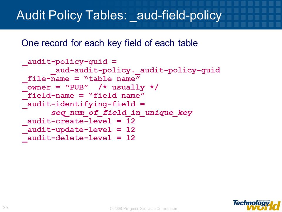 Audit Policy Tables: _aud-field-policy
